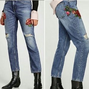 Zara Jeans - NWT Zara Sequined Relaxed Distressed Jeans